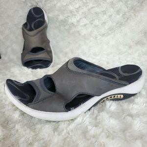 merrell Woman Slide sandals  White Black gray